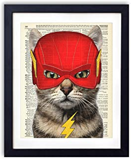Lightning Cat, Superhero Kids Bedroom Wall Decor, Vintage Wall Art Upcycled Dictionary Art Print Poster For Kids Room Decor 8x10 inches, Unframed