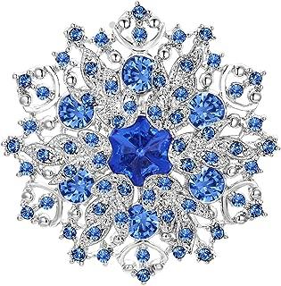 Austrian Crystal Elegant Winter Snowflake Corsage Brooch Pin Pink