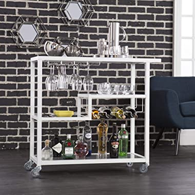 Holly & Martin Zephs Bar Cart White - Stylish Bar Cart for Home - Utility Carts with Wheels