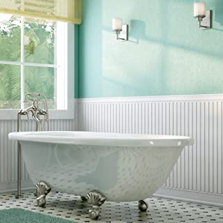 Luxury 60 inch Clawfoot Tub with Vintage Tub Design in White, includes Brushed Nickel Ball and Claw Feet and Drain, from The Laughlin Collection