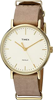 Timex Unisex TW2P98400 Fairfield 37 Taupe Leather Slip-Thru Strap Watch