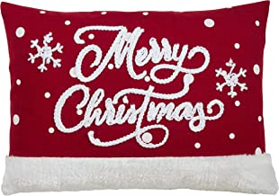 """SARO LIFESTYLE Merry Christmas Throw Pillow With Snowflake Design, 13"""" x 18"""" Cover Only, Red"""