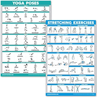 QuickFit Yoga Poses and Stretching Exercise Poster Set - Laminated 2 Chart Set - Yoga Positions & Stretching Workouts