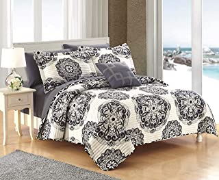 Chic Home Madrid 4 Piece Reversible Quilt Set Super Soft Microfiber Large Printed Medallion Design with Geometric Pattern, King, Black