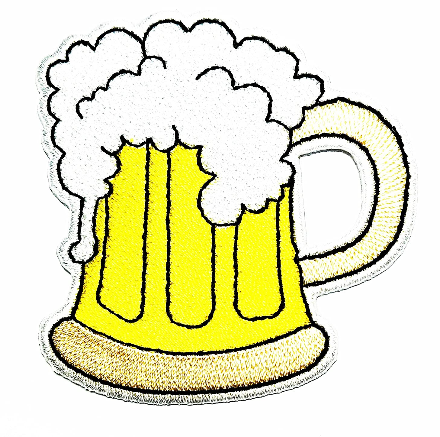 HHO Beer Glass Patch Embroidered DIY Patches, Cute Applique Sew Iron on Kids Craft Patch for Bags Jackets Jeans Clothes