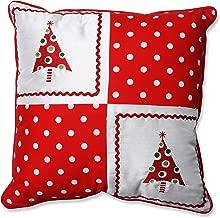 Pillow Perfect Christmas Trees Throw Pillow, 16.5 x 16.5, Red/White