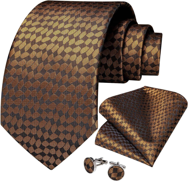 Neckties Set Gold Plaid Men's Ties Business Wedding Tie Handkerchief Cufflinks Set Jacquard 100% Silk Cravat Gift For Men