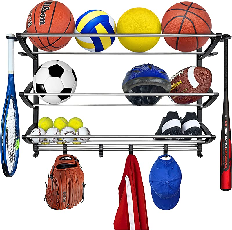 Lynk Rack With Adjustable Hooks Equipment Organizer Sports Gear Storage Black Premium Pack