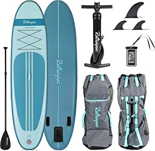 Retrospec Weekender 10' Inflatable Stand Up Paddleboard Triple Layer Military Grade PVC iSUP Bundle w/ paddle board carrying case, aluminum paddle, removable nylon fins, manual pump & cell phone case (Renewed)