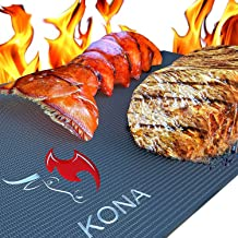 Kona Best BBQ Grill Mat - Heavy Duty 600 Degree Non-Stick Mats (Set of 2) - 7 Year Warranty