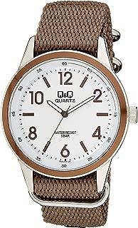 Q&Q Men's White Dial Fabric Band Watch - Q922J334Y