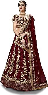 Zeel Clothing Women's Art Silk Semi-stitched Lehenga Choli (7008-Maroon_Maroon_Free Size)