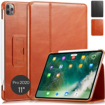 """KAVAJ Case Leather Cover Berlin Works with Apple iPad Pro 11"""" 2020 Cognac-Brown Genuine Cowhide Leather with Built-in Stand Auto Wake/Sleep Function. Slim Fit Smart Folio Covers"""
