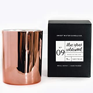 Blue Spruce and Cedarwood Natural Soy Wax Candle Rose Gold Jar Scented Christmas Tree Pine Evergreen Cypress Musk Moss Fall Holiday Winter Scent Rustic Home Lead Free Cotton Wick Made in USA