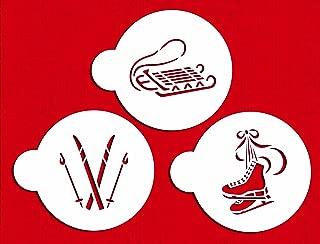 Designer Stencils C583 Winter Sport Cookie Stencils, (Sled, Ice Skates and Skis), Beige/semi-transparent