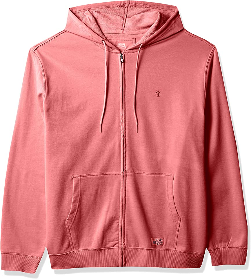 IZOD Men's Big and Tall Saltwater Long Sleeve French Terry Full Zip Hoodie Sweatshirt