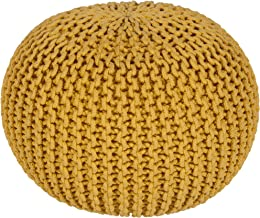 Surya 100-Percent Cotton Pouf, 20-Inch by 20-Inch by 14-Inch, Sunflower