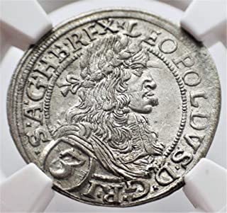 1670 AT Austria Vienna Antique Silver Authenticated Coin Austrian Coins 3 Kreuzer MS-62 NGC