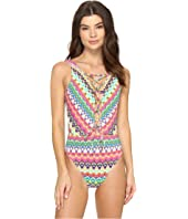 Bleu Rod Beattie - In Living Color Lace Down Over the Shoulder Mio One-Piece