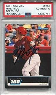 Mike Trout Autographed 2011 Bowman Topps 100 Rookie Card (PSA)