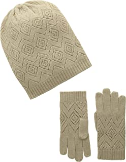 La Fiorentina Women's Cashmere Knit Pointelle Hat and Glove Two-Piece Set