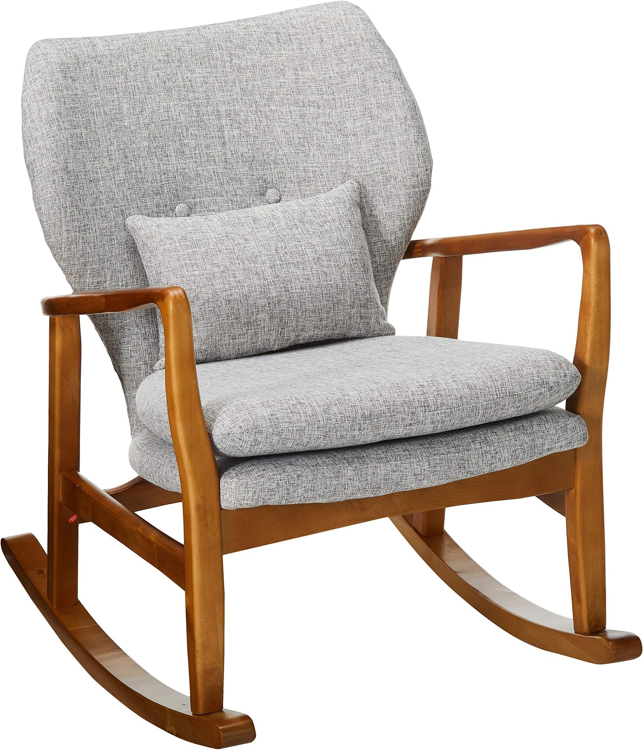 Christopher Knight Home Benny Mid-Century Modern Fabric Rocking Chair, Light Grey Tweed / Light Walnut