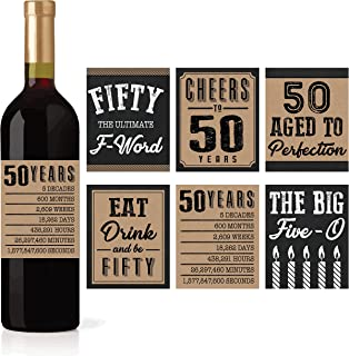 6 50th Birthday Wine or Beer Bottle Labels Stickers Present, 1969 Bday Milestone Gifts For Him Man, Cheers to 50 Years, Fifty, Funny Fabulous Unique Party Decorations Supplies For Men Husband Male