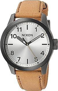 ساعة نيكسون للرجال سفاري كوارتز يابانية ستانلس ستيل مع حزام جلد صناعي، بني، 21 موديل A9752741