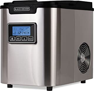 BLACK+DECKER BIMY126S 26-lb Capacity Stainless Steel Ice Maker, Silver