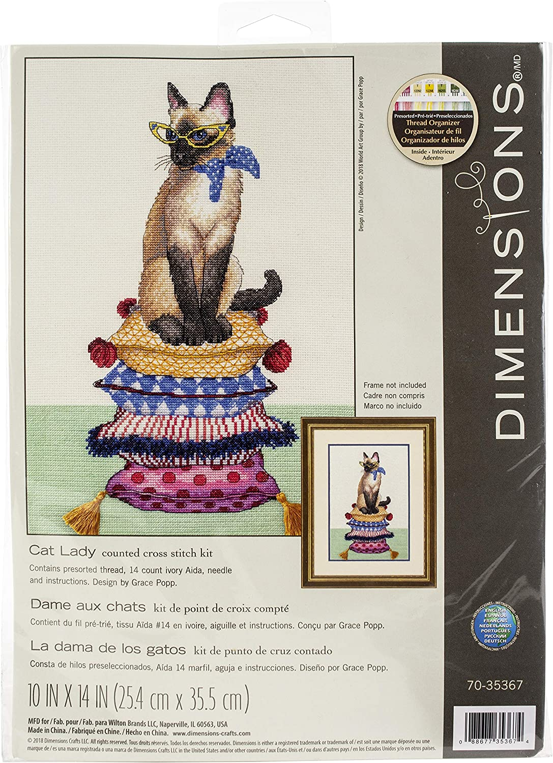 Dimensions 'Cat Lady' Counted Cross Stitch Count Limited price sale Luxury A Kit 14 Ivory