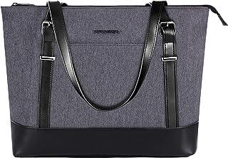 KROSER KROSER Laptop Damen Handtasche Grau Handtaschen Elegant Taschen Shopper Reissverschluss Frauen Handtaschen 15,6 Zoll Große Leichte Nylon Stilvolle Handtasche für Business/Schule/Reisen-MEHRWEG