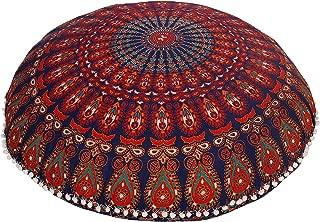Anokhiart Navy Blue Round Mandala Floor Pillow Throw Living Room Decor Boho Decor Hippie Round Seating Pouf Cover Mandala Floor Pillows Cushion with Pom Pom
