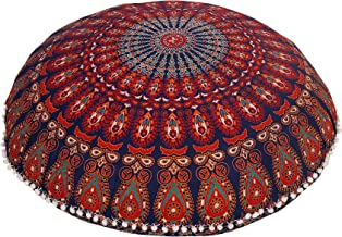 Hemsi-77 32 COR Mandala Floor Pillow Cushion Seating Throw Cover Hippie Decorative Bohemian Ottoman Poufs, Pom Pom Pillow Cases,Boho Indian