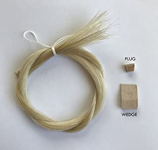 """MI&VI Extra Thick Mongolian Horse Hair, Perfect for Cello Bows - Unbleached, White 29.5"""" (1 Hank, Prepared, Includes Plug and Wedge) (Cello - 1 Hank)"""