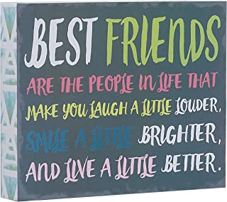 Barnyard Designs Best Friends are The People in Life That Make You Laugh Box Wall Art Sign, Primitive Country Farmhouse Home Decor Sign with Sayings 10