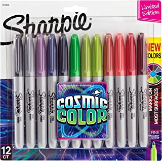 Sharpie Permanent Markers, Fine Point, Cosmic colour, Limited Edition, 12 Count