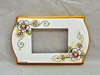 """copri interruttore ceramica : decoro""""pink flowers"""""""