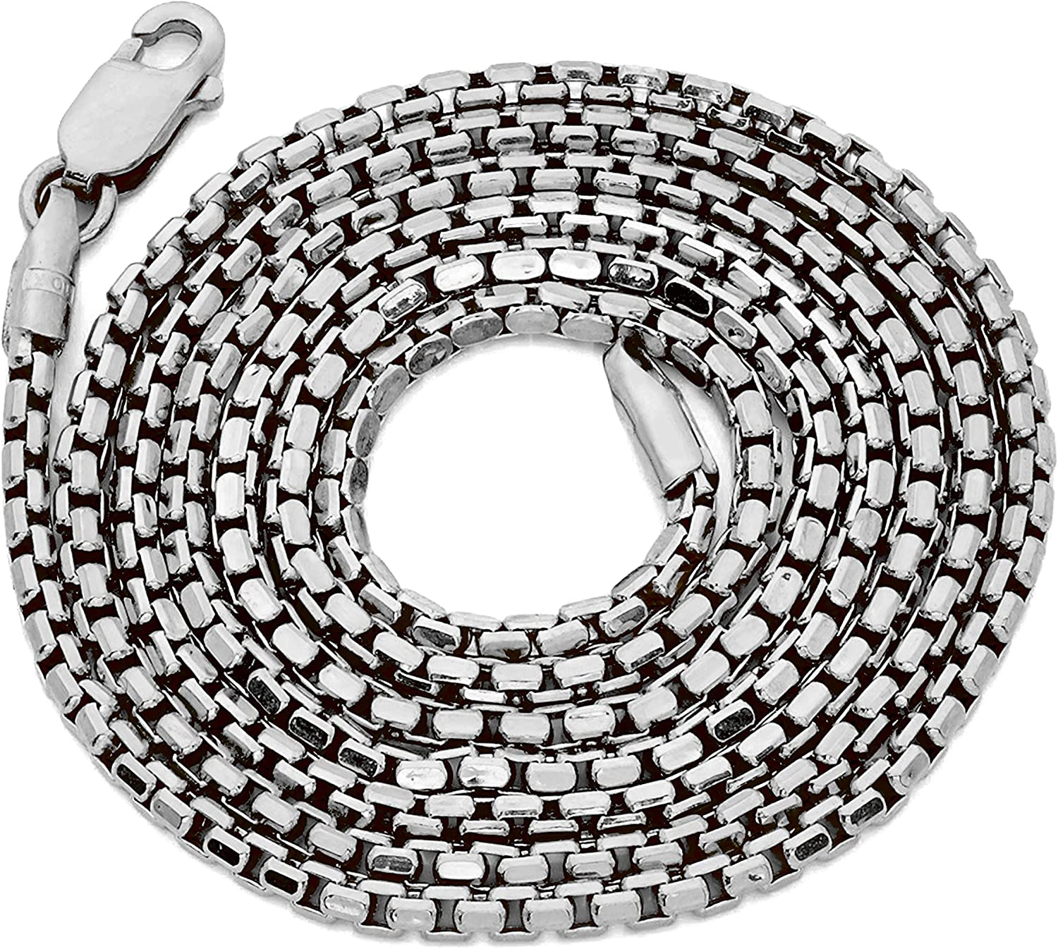 LoveBling 10K White Gold 1.5mm Open Hollow Venetian Box Chain Necklace (Available from 18-24 inches)