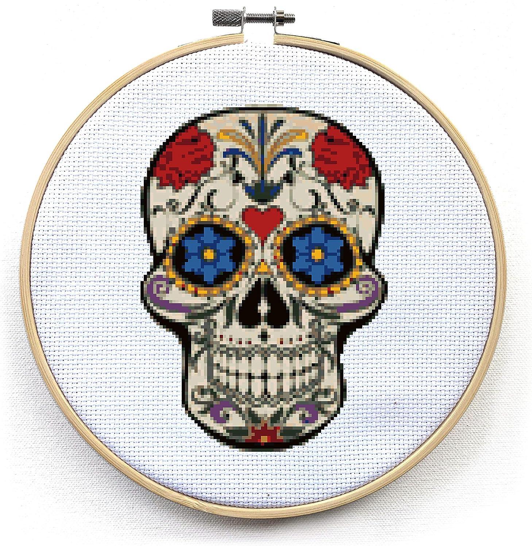 Sugar Skull Cross Stitch Skull Needle Carfat Set Modern Cross Stitch Kit /'Snow White/' By Illustrated Ink Counted Cross Stitch