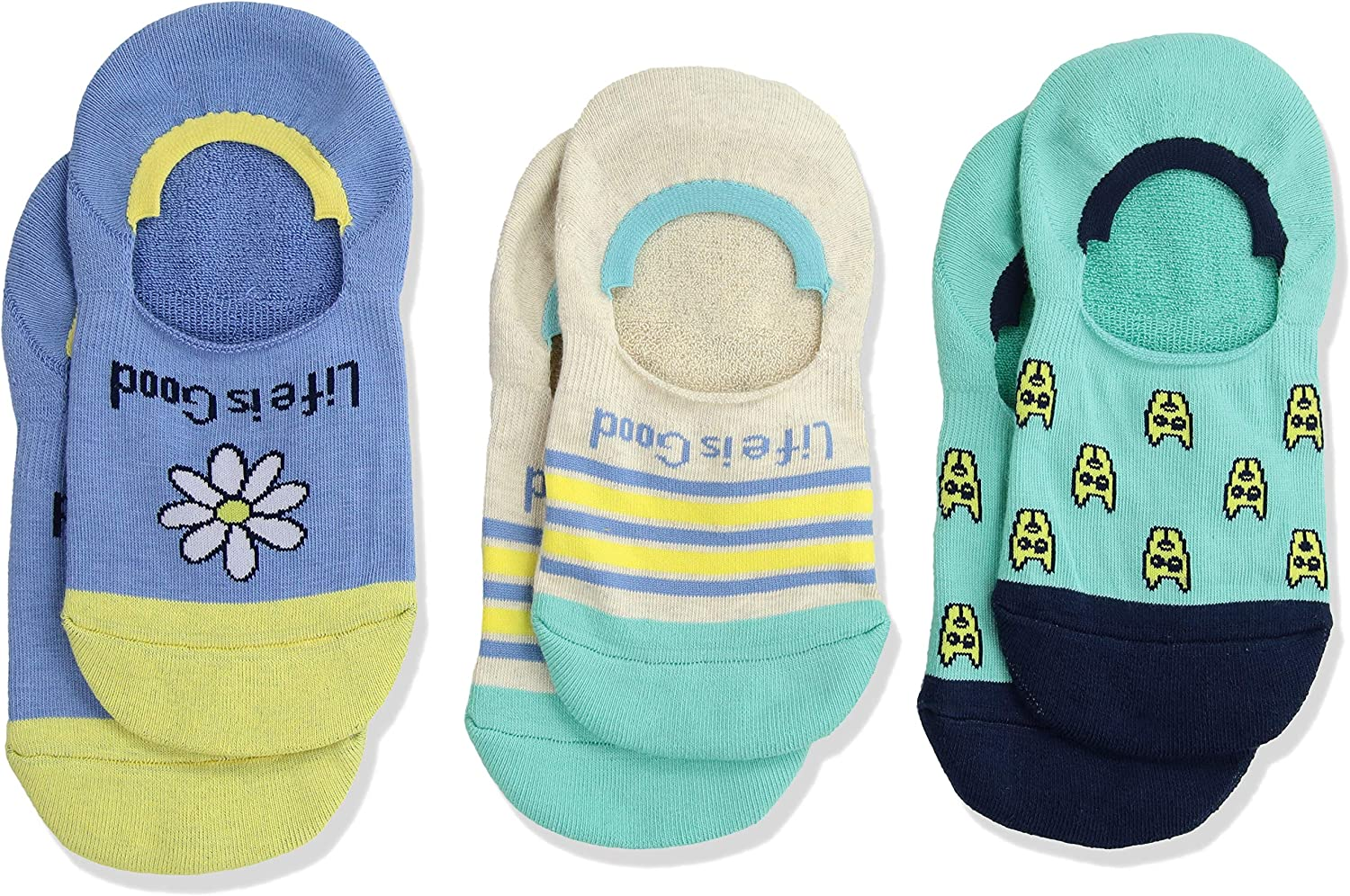 Life is Good Little Girl 3Pack Invisible No Show Socks, Medium (Fits shoes Size 1013), Daisy Rocket Turquoise