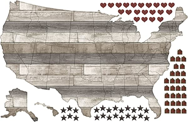 WallPops Country Living US Map Wall Decal
