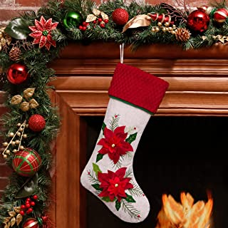 Valery Madelyn 21 inch Country Burlap Christmas Stockings with Christmas Flower and Plush Cuff Trim, Themed with Tree Skirt (Not Included)