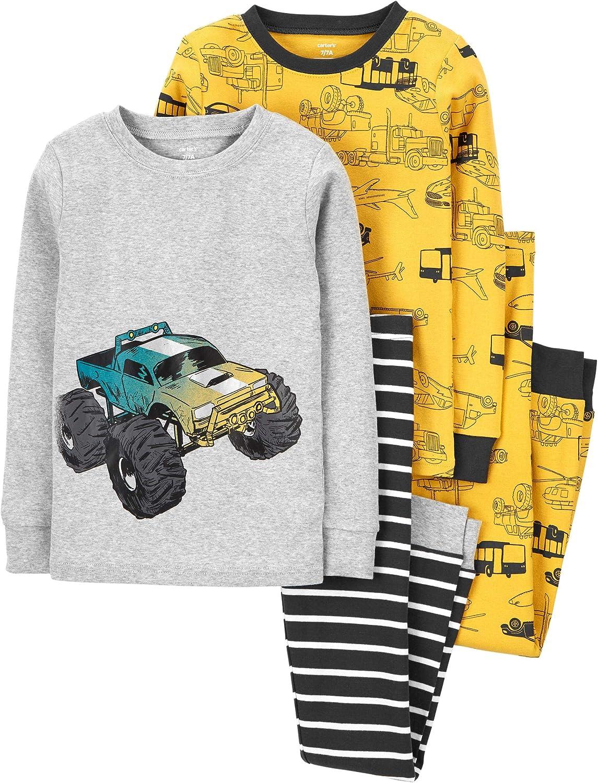Carter's Big Boys' 4 Pc Cotton Pajamas Set (Monster Truck