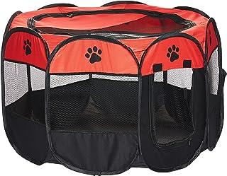 Mumoo Bear Orange Fabric Folding Playpen Pet Kennel Cage, Medium
