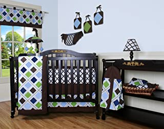 GEENNY 13 Piece Crib Bedding Set, Blue/Brown Diamond
