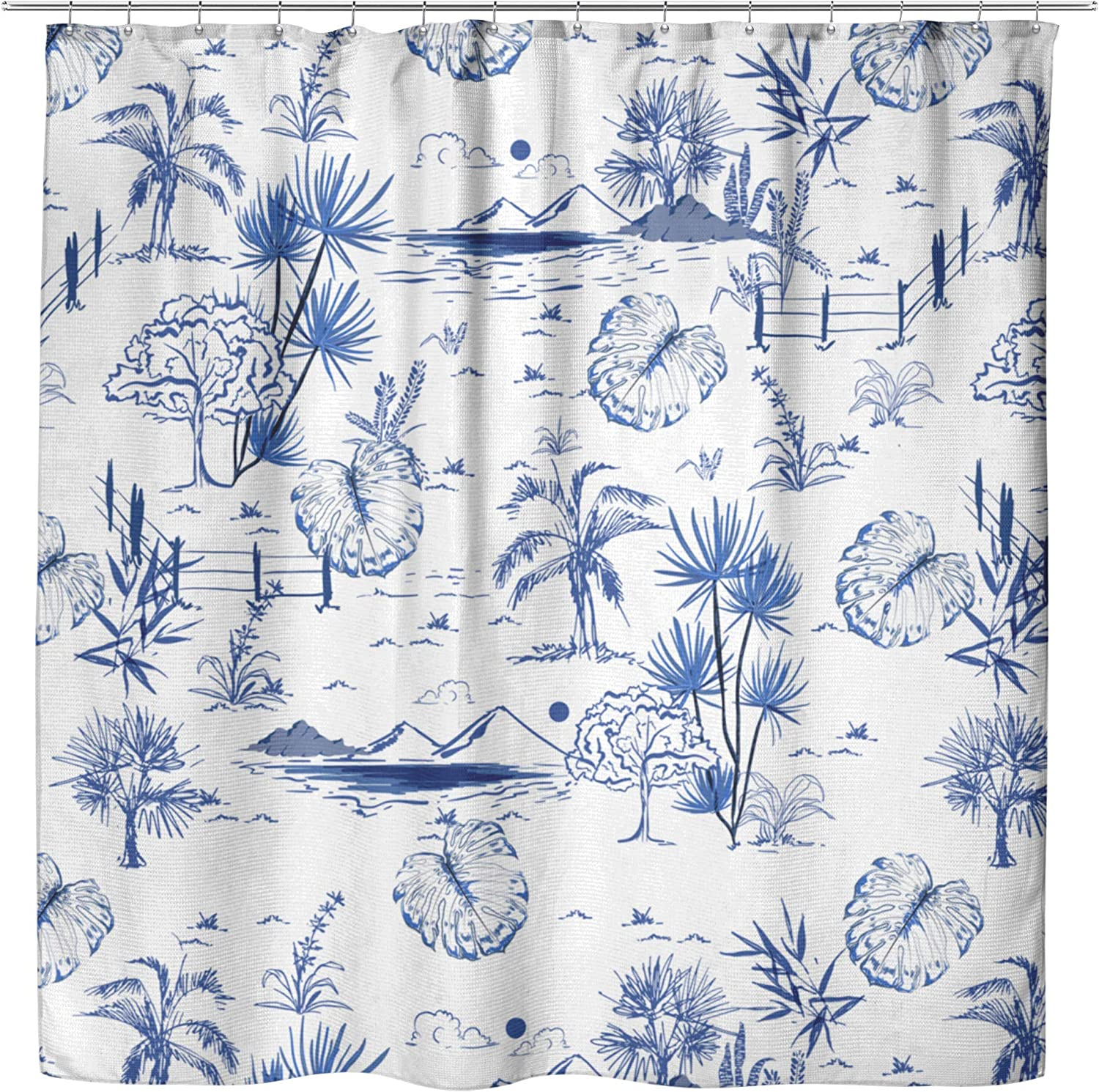 Tropical Vintage Blue Toile Shower - Curtai Curtain Quantity OFFer limited Beach