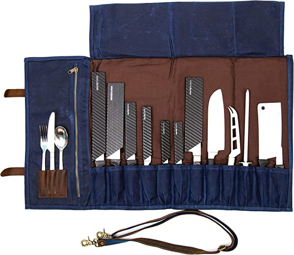ExecuChef Waxed Canvas Knife Roll 15 Knife Slots Card Holder And A Large Zippered Pocket Genuine Top Grain Leather Cloth And Brass Buckles For Professional Chefs And Culinary Students Blue