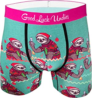 Good Luck Undies Men's Christmas Sloths Boxer Brief Underwear
