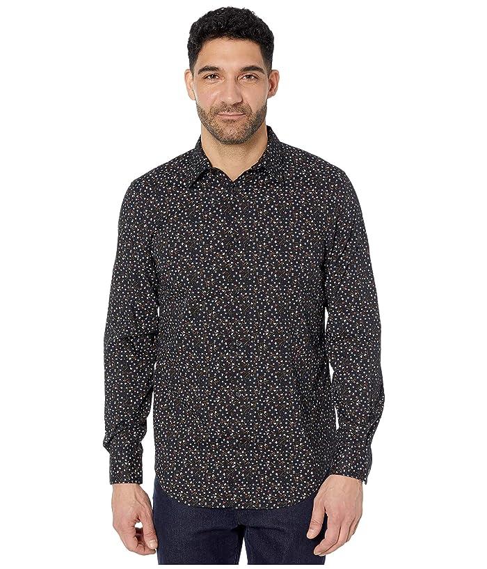 Perry Ellis  Floral Print Stretch Long Sleeve Button-Down Shirt (Black) Mens Clothing