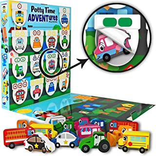 LIL ADVENTS Potty Time Adventures Potty Training Game - 14 Wood Block Toys, Chart, Activity Board, Stickers and Reward Badge for Toilet Training, Busy Vehicles